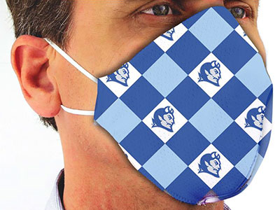 Man wearing CCSU Blue Devil face mask