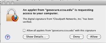 gosecure allow application dialog box