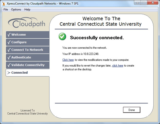 cloudpath connection success