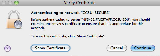 mac verify cert dialog box