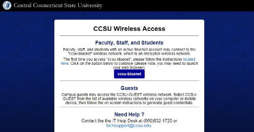 ccsu wireless access screen